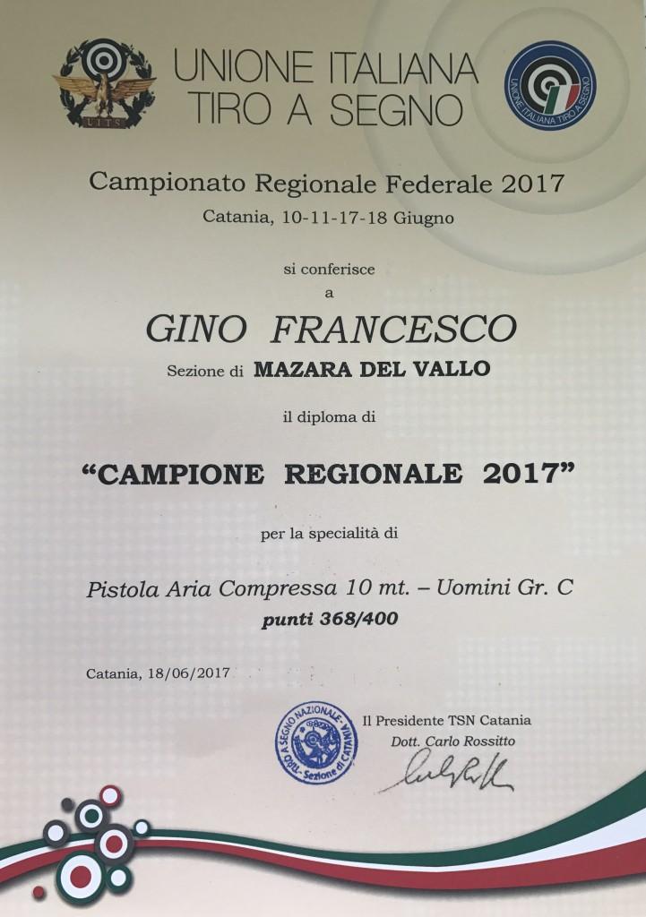 CAMPIONE REGIONALE P10 2017 GINO FRANCESCO